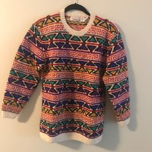 Women's Vintage Wool Unique Printed Sweater, Small